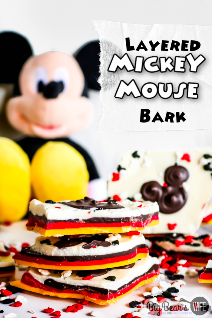 This Layered Mickey Mouse Bark is a fun Mickey Mouse inspired treat that shows off all of Mickey's signature colors! This Mickey bark is super easy to make and would be a perfect dessert or party favor for any Disney fan!