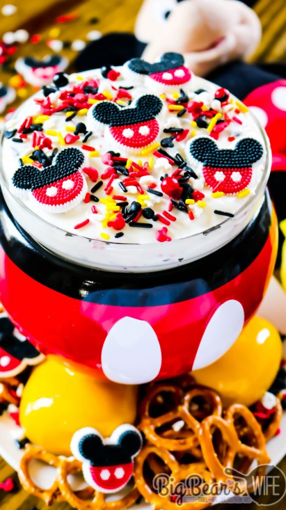 Mickey Mouse Cheesecake Dip - Easy Marshmallow cheesecake dip with a Mickey Mouse theme! If your kids love Mickey Mouse, they'll love dipping into this Mickey Mouse Cheesecake Dip!