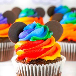 Homemade Mickey Mouse Rainbow Cupcakes