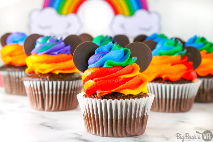 Homemade Mickey Mouse Rainbow Cupcakes