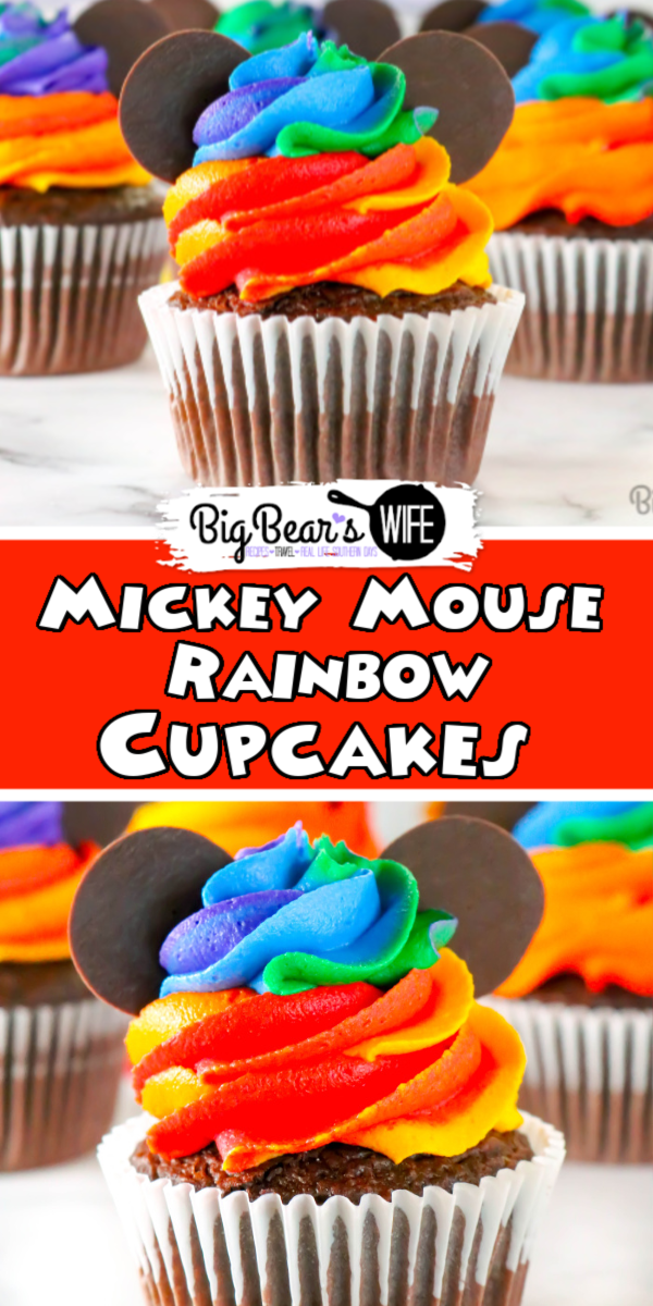 Homemade Mickey Mouse Rainbow Cupcakes - Combine the magic of Disney with the beauty of a rainbow with these adorable Homemade Mickey Mouse Rainbow Cupcakes! Inspired by the Mickey rainbow cupcakes sold at Walt Disney World, I'll show you how to make them at home!  via @bigbearswife