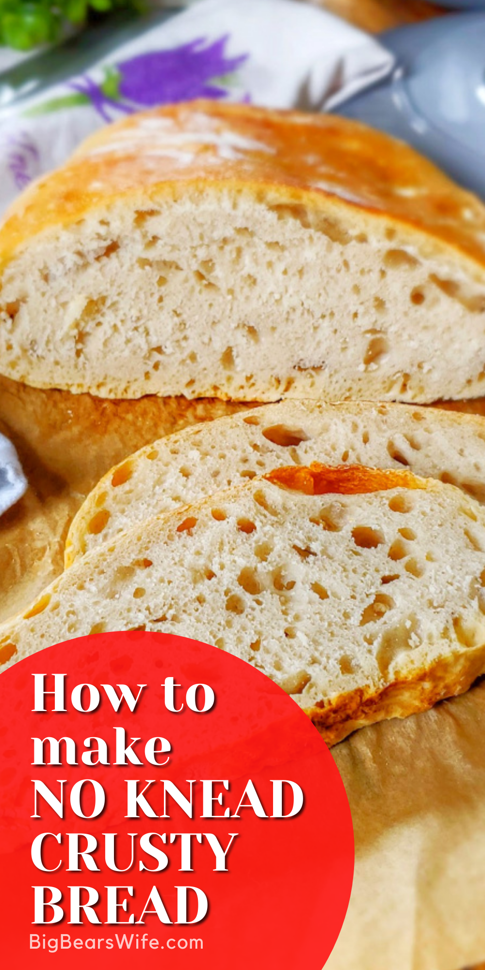 Ready to learn how to make the easiest No Knead Crusty Bread at home? I've got step by step photos and directions to teach you how to bake it in your own kitchen! via @bigbearswife