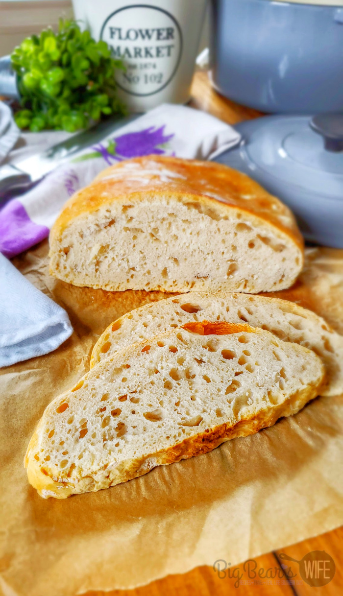 Sliced No Knead Crusty Bread
