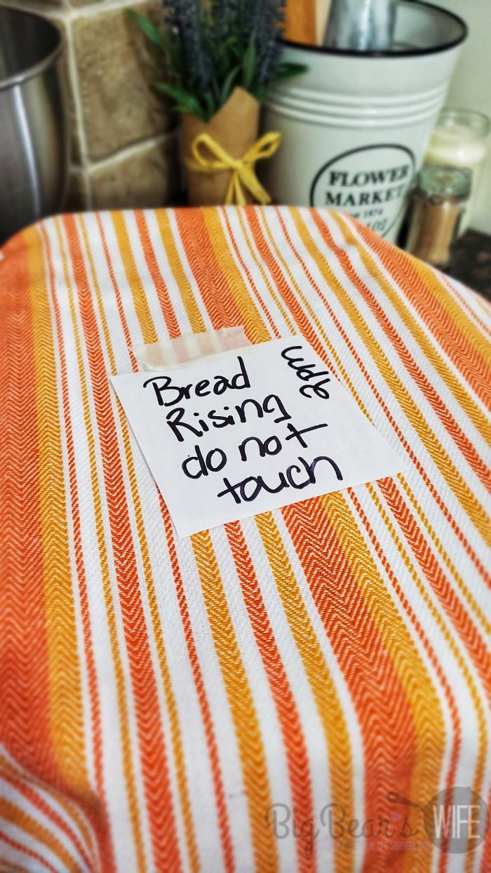 Bread Dough Resting under Orange dish towel