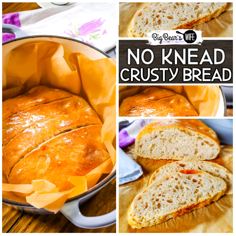 No Knead Crusty Bread - Ready to learn how to make the easiest No Knead Crusty Bread at home? I've got step by step photos and directions to teach you how to bake it in your own kitchen!