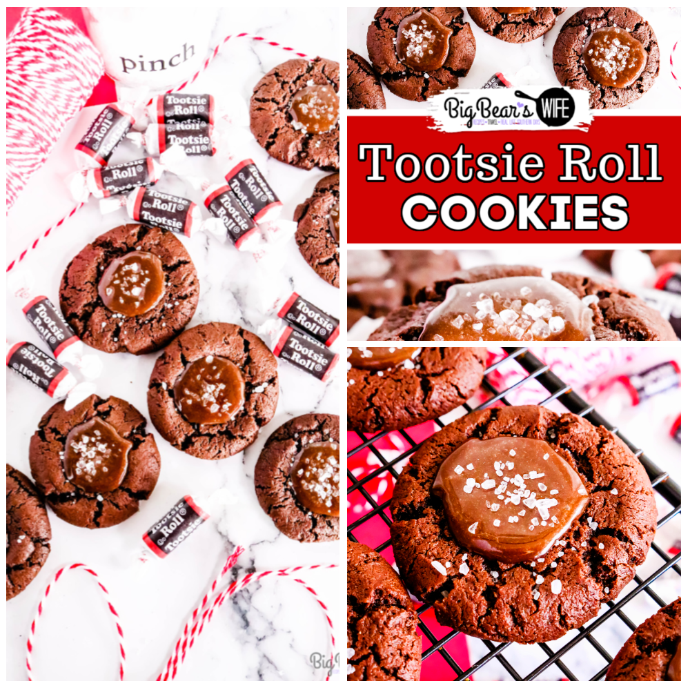 Tootsie Roll Cookies - These chocolate Tootsie Roll® cookies take the forgotten and sometimes disregarded Tootsie Roll® to a whole new level.  Take the humble Tootsie Roll from zero to hero with these homemade chocolate thumbprint cookies filled with an easy to make Tootsie Roll® ganache and sprinkled with sea salt. via @bigbearswife