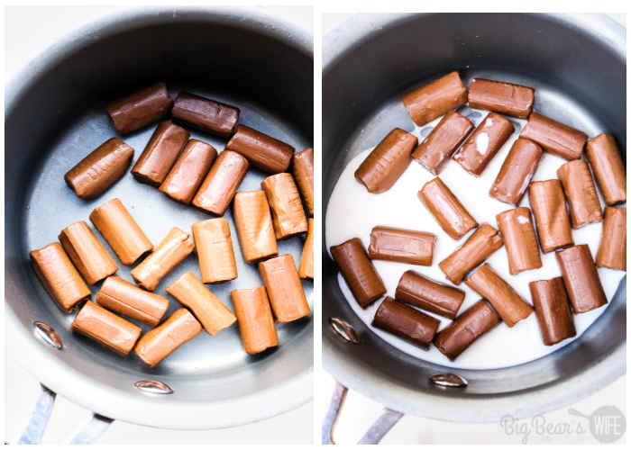Tootsie Rolls in saucepan