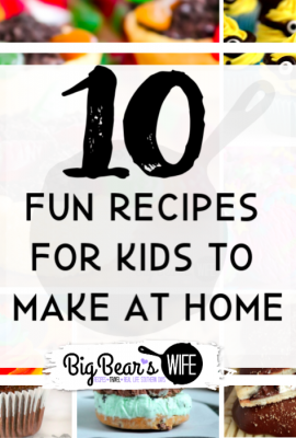 10 Fun Recipes to Make with Kids at Home - If you are looking for something fun to keep your kids entertained, get them into the kitchen! Have fun while teaching them about measurements and baking while they let their creativity shine with these10 Fun Recipes to Make with Kids at Home!