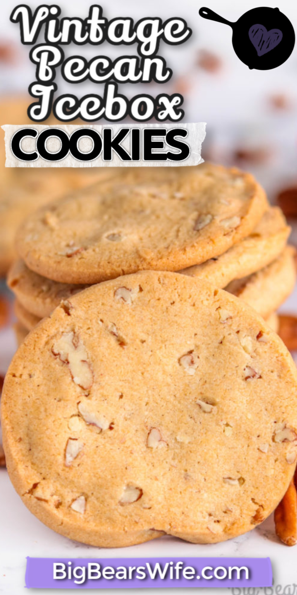 Vintage Pecan Icebox Cookies - These Vintage Pecan Icebox Cookies are a tried and true classic recipe that first appeared in the Imperial Sugar 1930 edition of A Bag Full of Recipes cookbook. Make the dough, and let it chill overnight before slicing and baking this classic cookie that has stood the test of time. via @bigbearswife