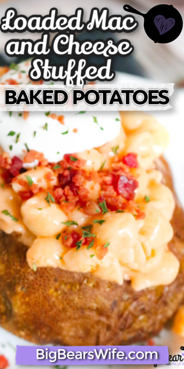 Calling all carb lovers!!! These Loaded Mac and Cheese Stuffed Baked Potatoes might be the best stuffed baked potatoes ever. Homemade Mac and cheese stuffed into a freshly baked potato is a carb lover's dream come true! via @bigbearswife