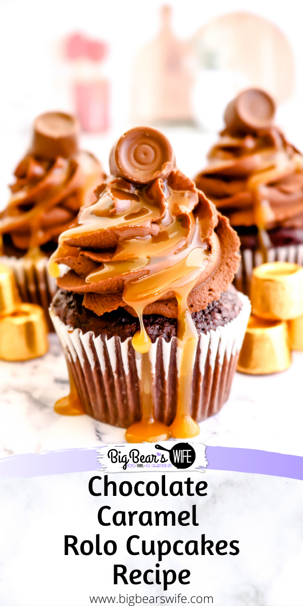 Chocolate Caramel Rolo Cupcakes - The perfect combination of chocolate and caramel come together with these homemade Chocolate Caramel Rolo Cupcakes! Homemade chocolate cupcakes are stuffed with a Rolo® chocolate and topped with fudgy chocolate frosting, drizzled caramel sauce and finished off with another Rolo® candy for the ultimate indulgent treat. via @bigbearswife