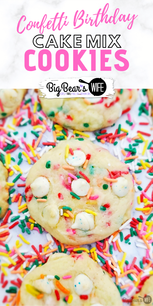 Confetti Birthday Cake Mix Cookies - These fantastic Confetti Birthday Cake Mix Cookies are make using white cake mix, extra vanilla and confetti chips plus there are sprinkles mixed in!!! They taste just like a cookie version of funfetti icing!