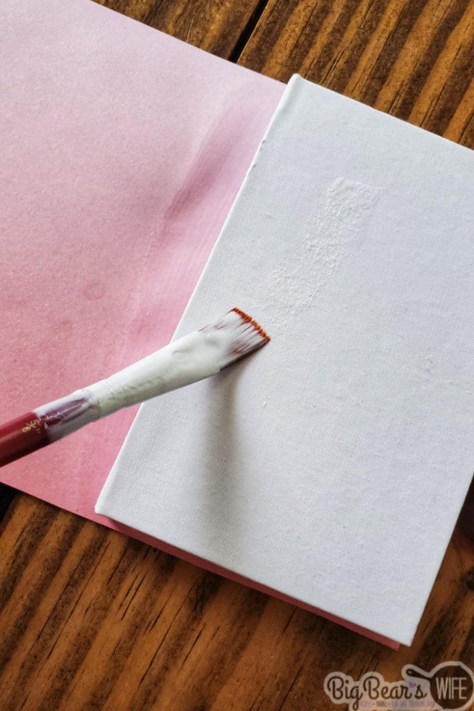Mod Podge on notebook