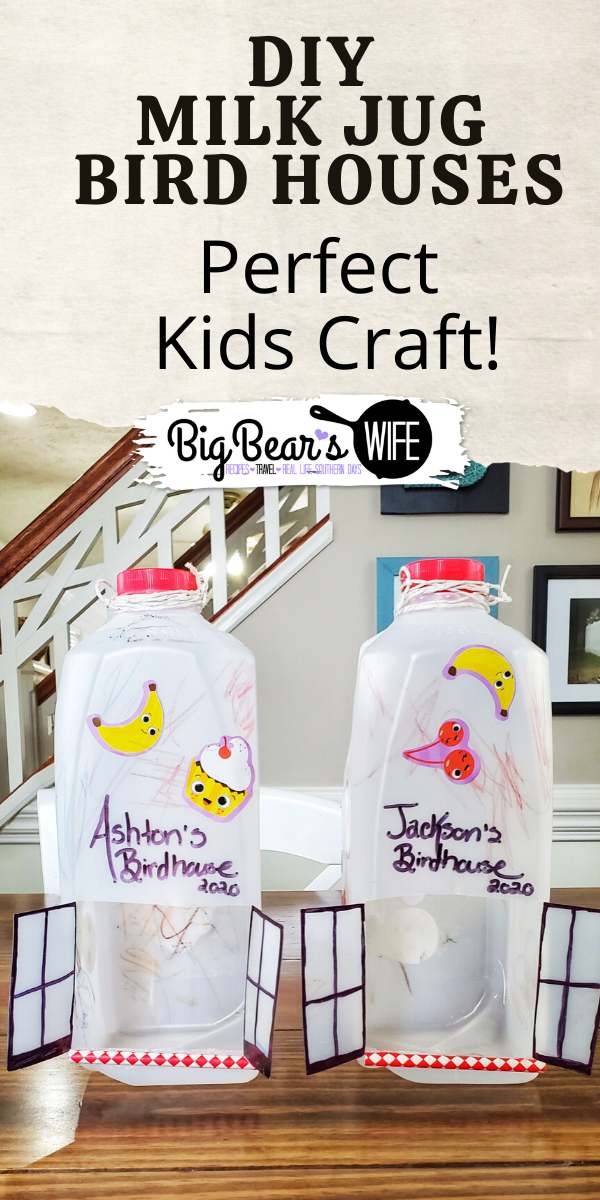 DIY Milk Jug Bird House - Don't toss that milk jug, lets recycle it into a craft! An easy craft for toddlers and kids to recycle milk jugs into bird houses. You can also use this as a bird feeder.