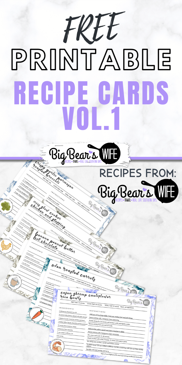 Free Printable Recipe Cards - Vol. 1  - If you love collecting recipes and collecting recipe cards, I've got a present for you! Here are 5 of my favorite recipes made into FREE Printable Recipe Cards just for you! Print them out, cut them out and save them in your recipe binder or recipe box!