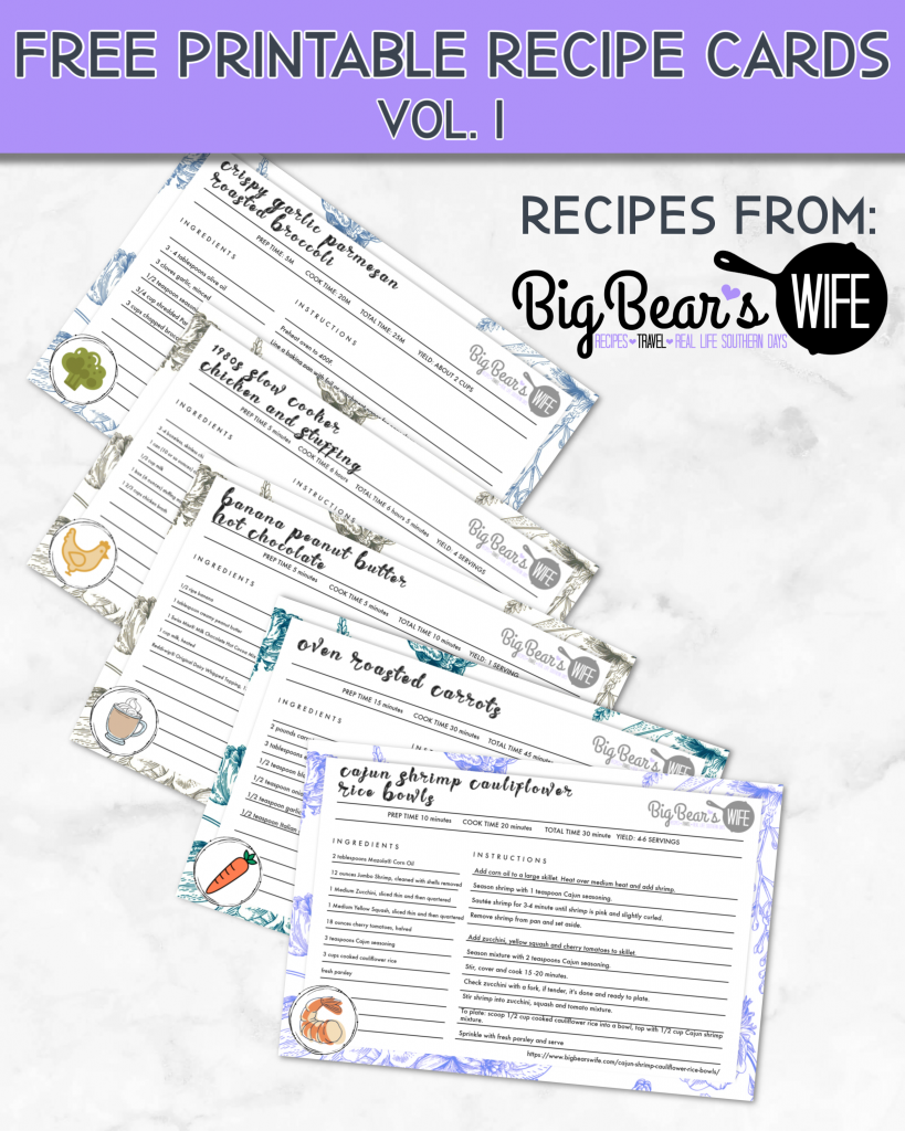FREE Printable Recipe Cards Vol 1