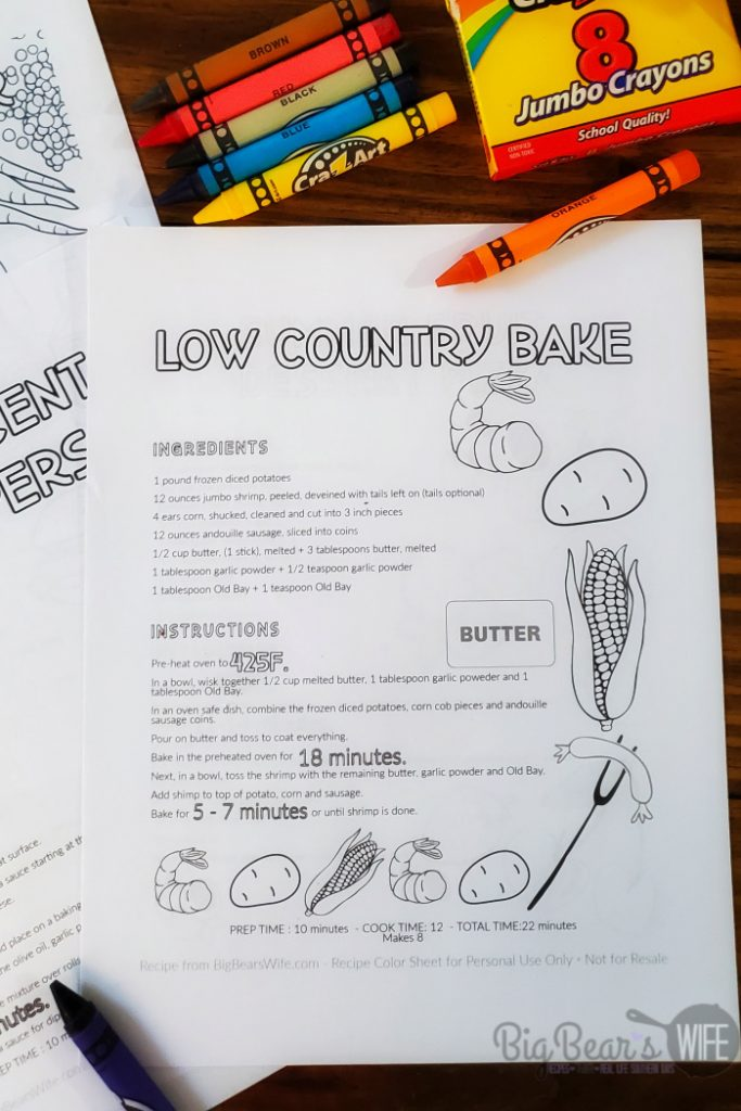 Blank Recipe Coloring Sheets