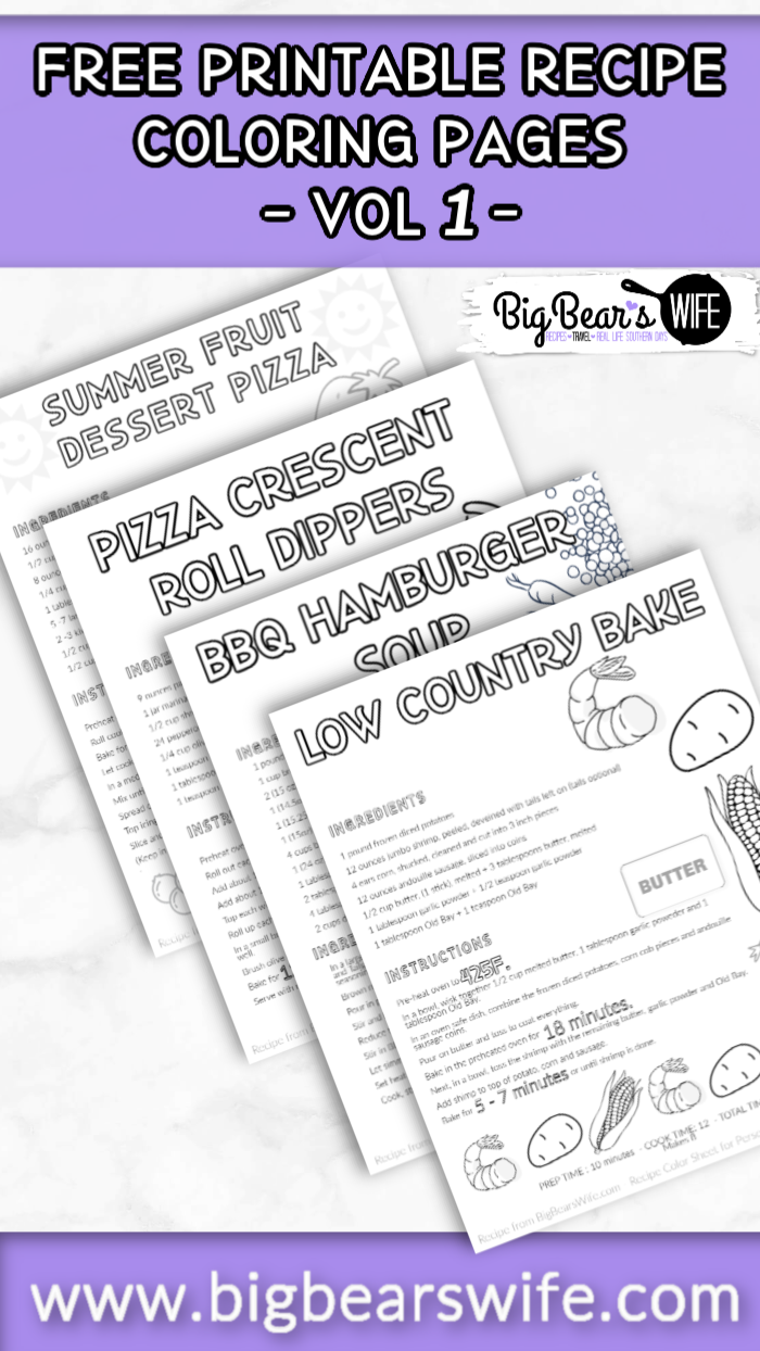 FREE Printable Recipe Coloring Pages – VOL 1- Get the kids into the kitchen with these free printable recipe coloring sheet. Let them help you create the dish and then let them coloring the recipe pages while the dish is baking or mixing! via @bigbearswife