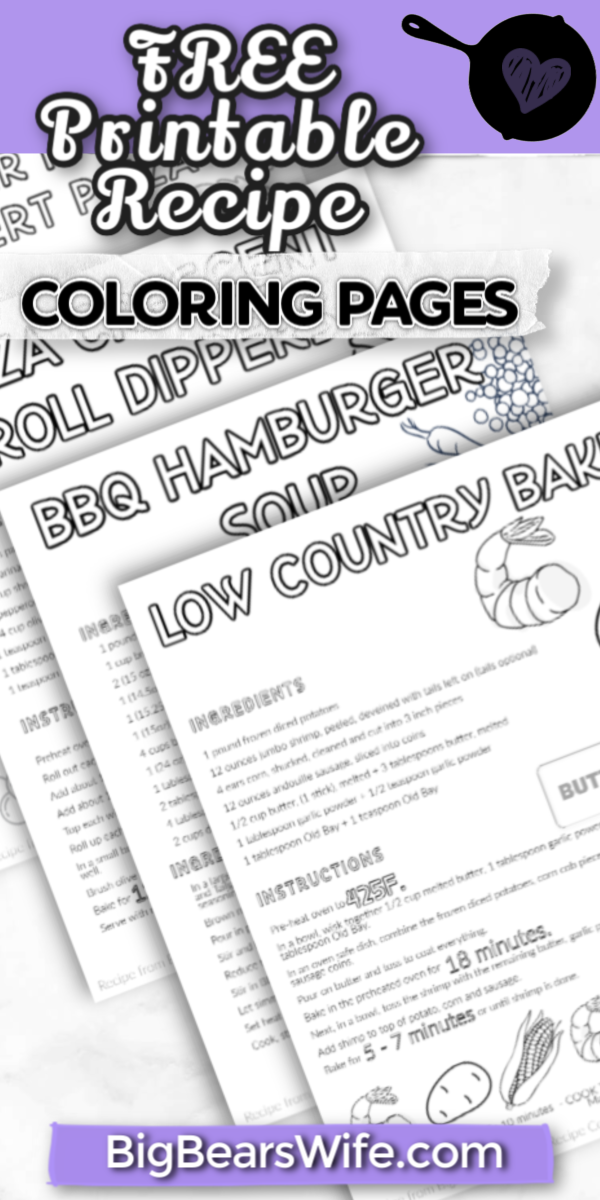 FREE Printable Recipe Coloring Pages – VOL 1 - Big Bear's Wife