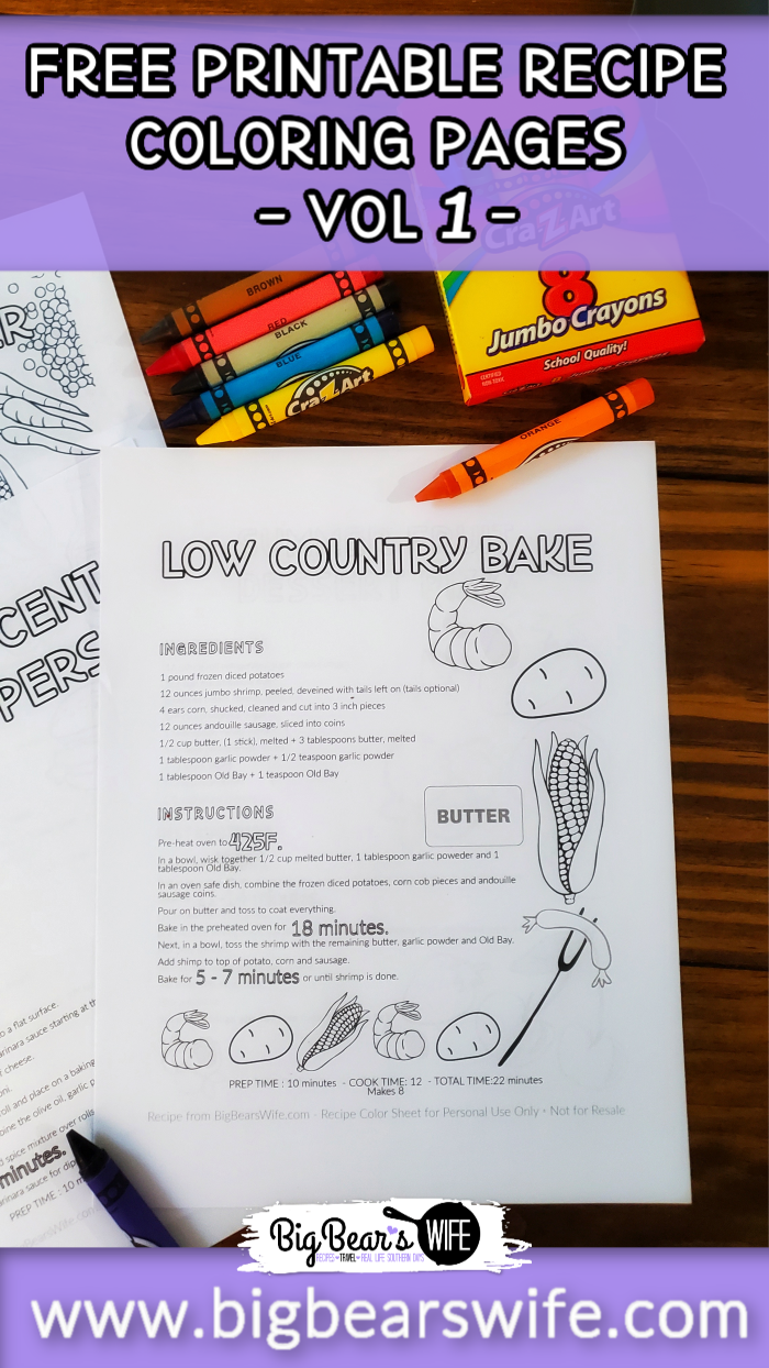 FREE Printable Recipe Coloring Pages – VOL 1 via @bigbearswife
