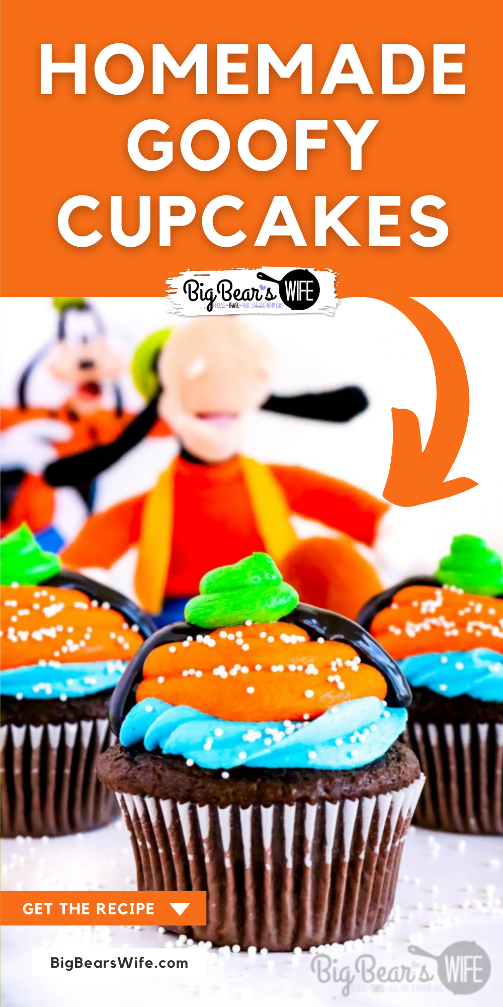 Bring a little bit of Goofy Disney magic into your home with these Disney World inspired Homemade Goofy Cupcakes! via @bigbearswife