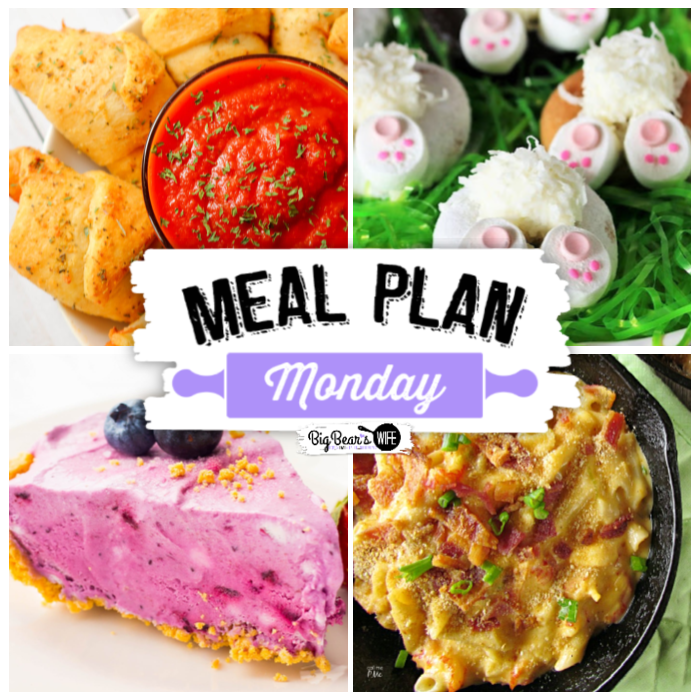 Hey y'all! Welcome to Meal Plan Monday 210! This week we're featuring recipes for Easter Bunny Butt Doughnuts, Decadent Crawfish Mac and Cheese, No-Bake Blueberries & Cream Icebox Cake and Pizza Crescent Roll Dippers plus some extra awesome Easter themed recipes!
