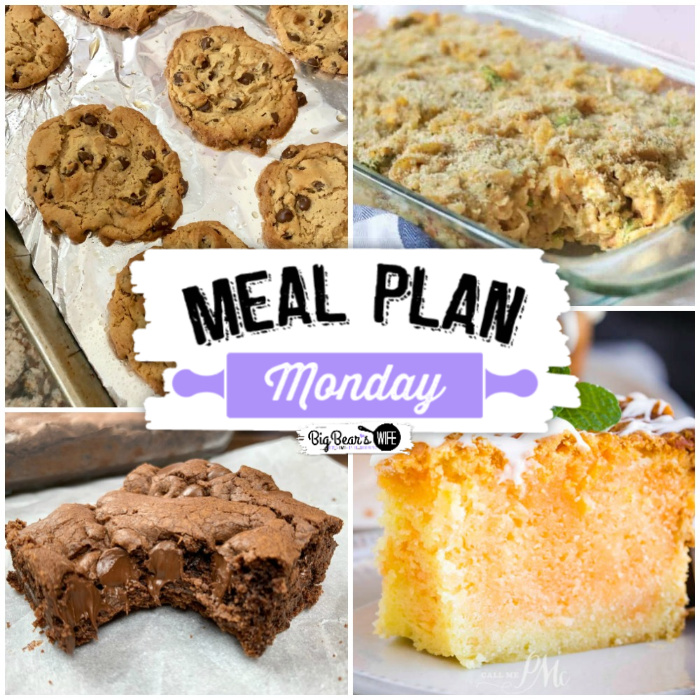 Meal Plan Monday 212 - Welcome to this week's edition of Meal Plan Monday! We've got recipes for Cake Mix Cookie Bars, Orange Creamsicle Pound Cake, Easy Chicken Noodle Casserole and Flourless Peanut Butter Chocolate Chip Cookies!! via @bigbearswife
