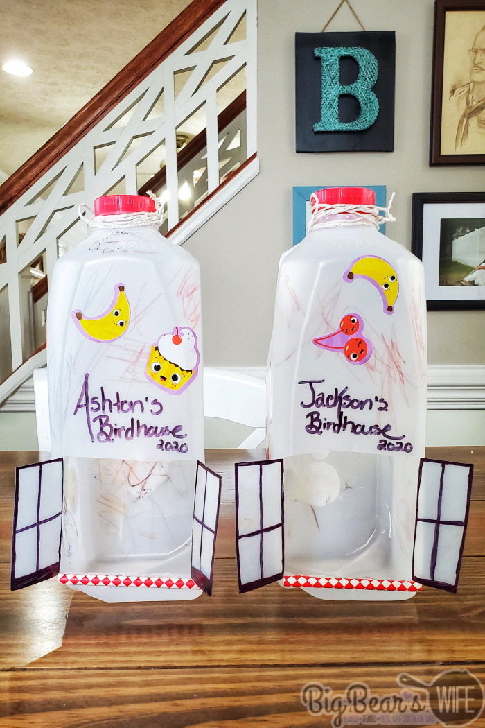 DIY Milk Jug Bird Houses - An easy craft for toddlers and kids to recycle milk jugs into bird houses.