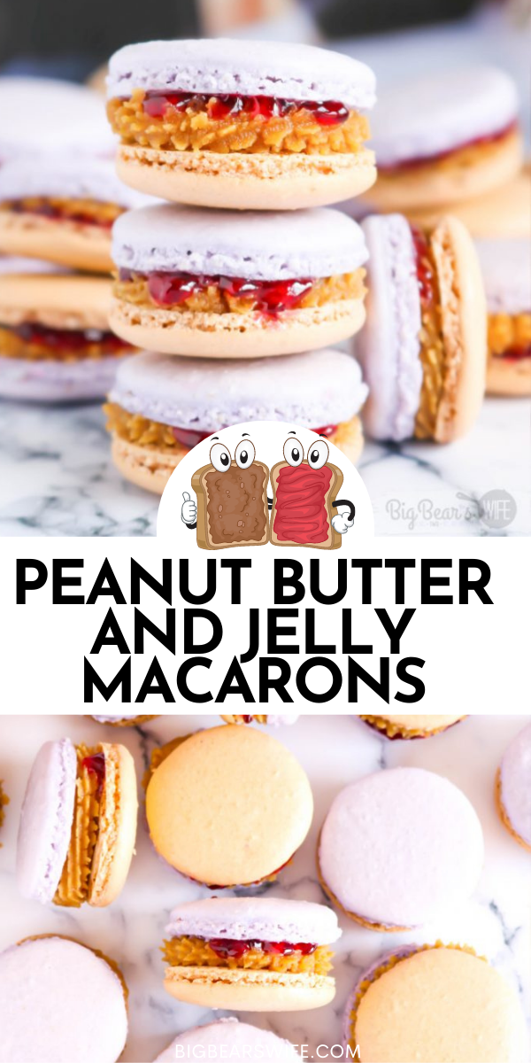 Give your favorite sandwich a twist and turn the beloved, childhood classic, peanut butter and jelly sandwich into a homemade Peanut Butter & Jelly Macaron! These Peanut Butter and Jelly Macarons show off grape and peanut butter colored shells and are filled with a peanut butter and grape jelly filling!  via @bigbearswife