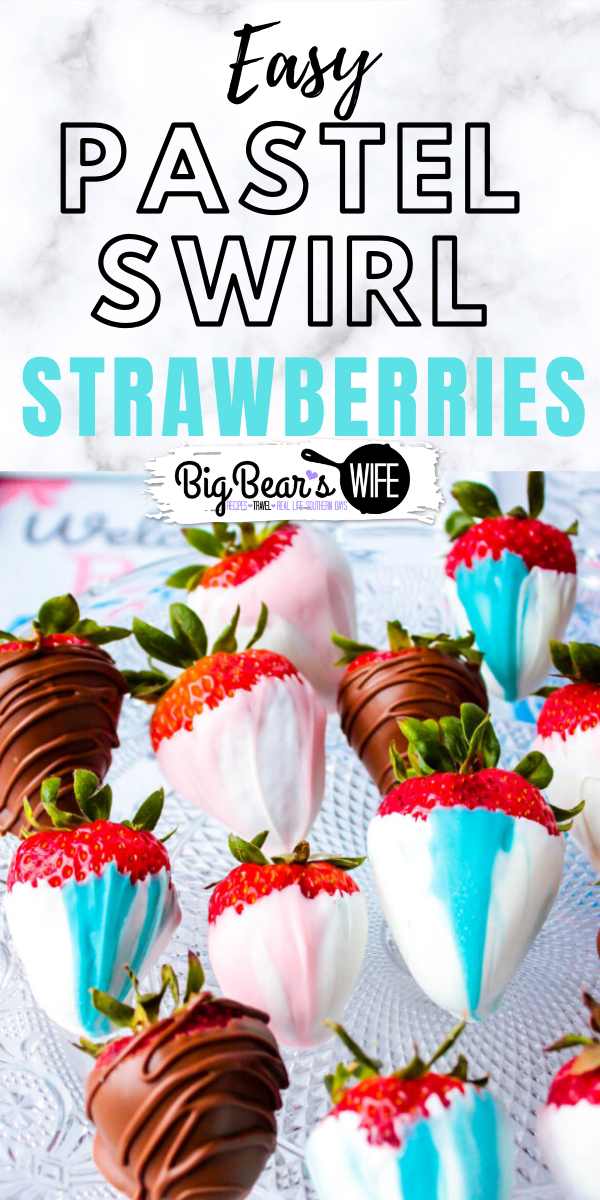 Know someone that's expecting a sweet baby soon and planning on a gender reveal? These Pastel Swirl Strawberries - Gender Reveal Party Strawberries are perfect for gender reveal parties or great just a a gift for the parents to be!  via @bigbearswife