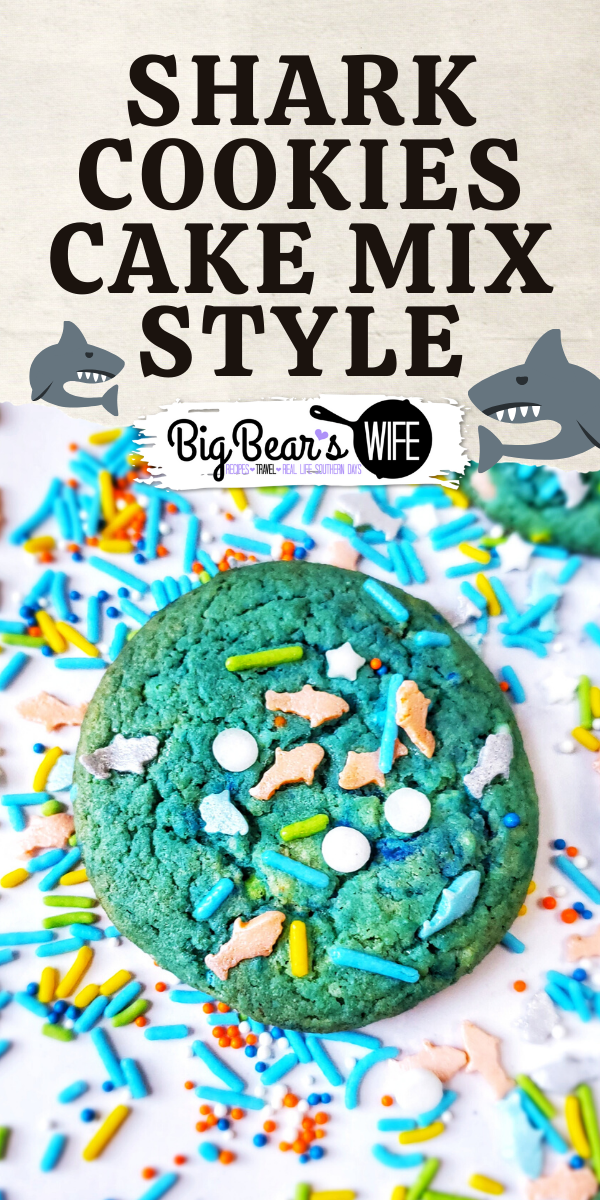 Shark Cookies Cake Mix Style - Shark Obsessed? Love ocean life? These Shark Cookies are for you! Blue and Ocean Green Marbled and topped with Shark sprinkles for the perfect Shark Cookies Cake Mix Style!