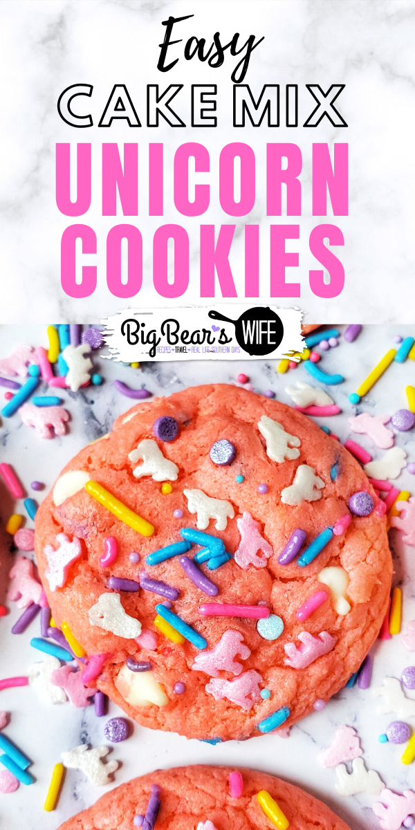 Unicorn Cookies Cake Mix Style - Want a cute and fun dessert in under 30 minutes? These cake mix Unicorn cookies are the answer! They're perfect for a weeknight treat with the kids or as a dessert for a Unicorn themed party!
