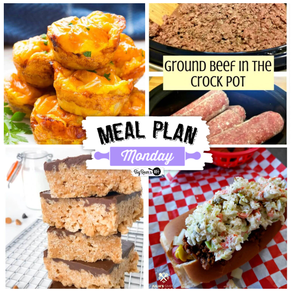 Hey Y'all! Welcome to Meal Plan Monday 214 with Crock Pot Ground Beef, Ham Egg and Gouda Breakfast Muffins, Cooking Ground Beef in your Crock Pot for easy meals and Carolina Slaw Dogs!
