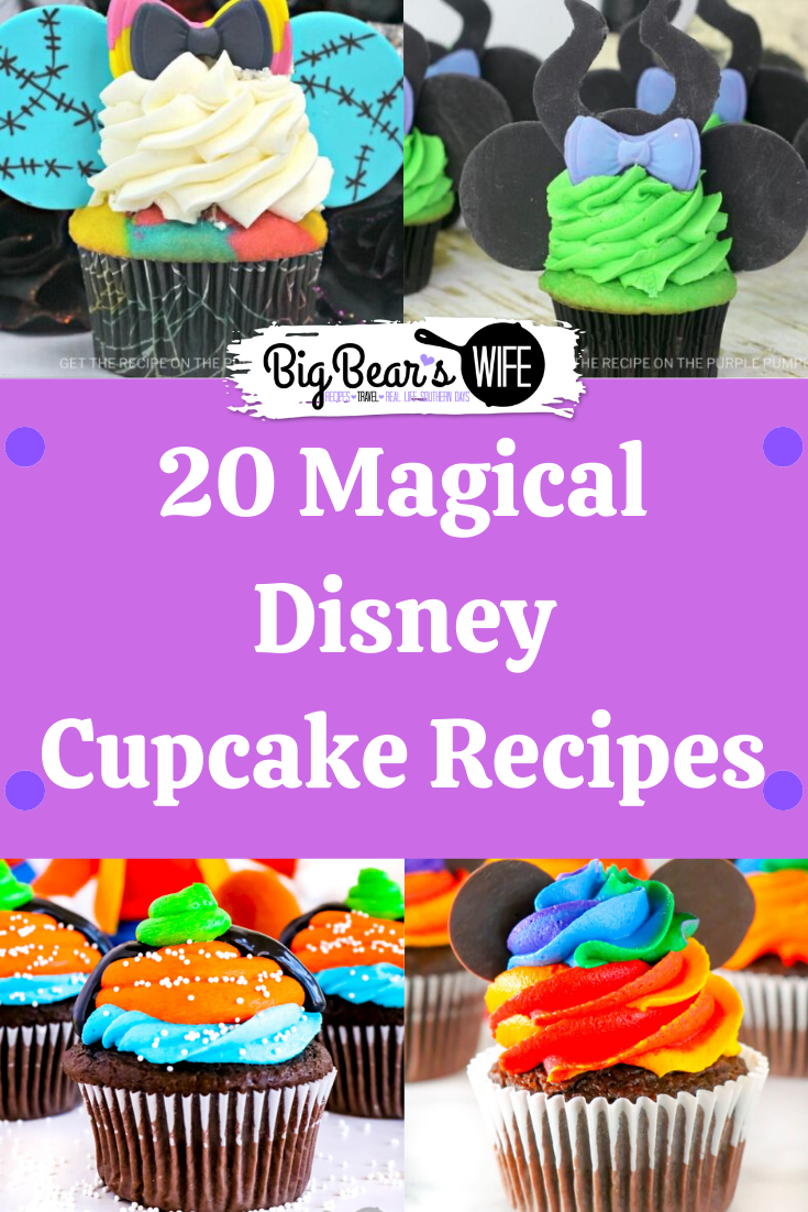 Missing the magic of Disney right now? These homemade Disney cupcakes are what you need! Here are 20 Magical Disney Cupcake Recipes to bring the magic of Disney into your kitchen! via @bigbearswife