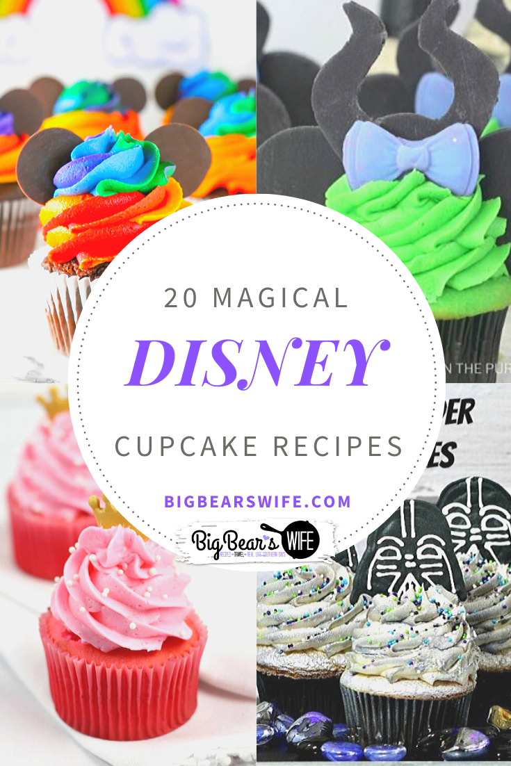 20 Magical Disney Cupcake Recipes - Missing the magic of Disney right now? These homemade Disney cupcakes are what you need! Here are 20 Magical Disney Cupcake Recipes to bring the magic of Disney into your kitchen! via @bigbearswife