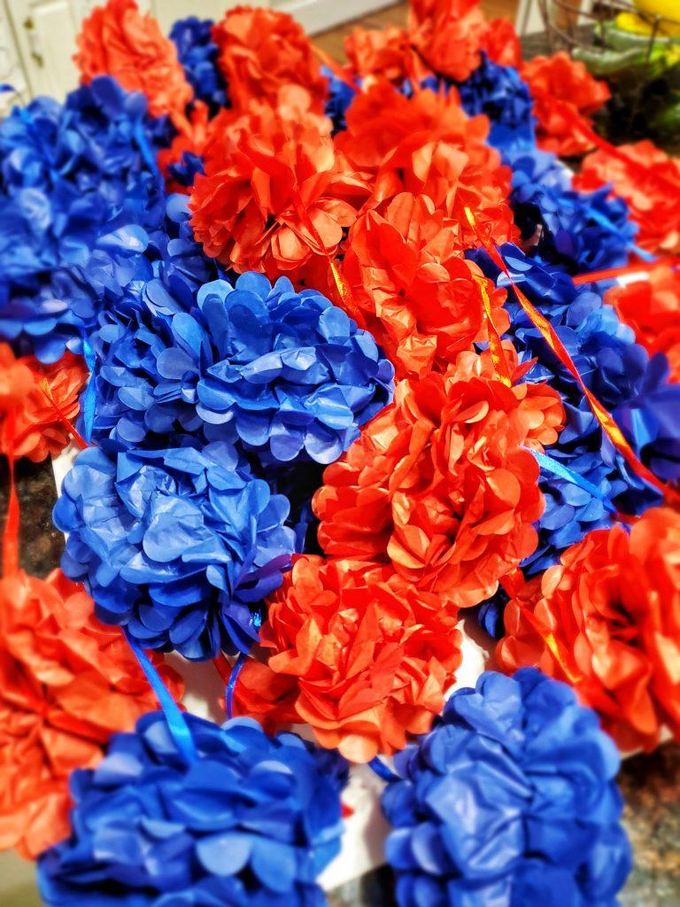 Red and Blue Pom Poms