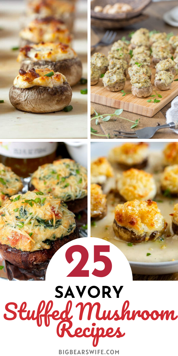 25 Savory Stuffed Mushroom Recipes - Love mushroom? Crazy about stuffed mushrooms? You're going to love these stuffed mushroom recipes! Here you'll find 25 Savory Stuffed Mushroom Recipes from classic recipes to pimento cheese stuffed mushrooms and escargot mushrooms!