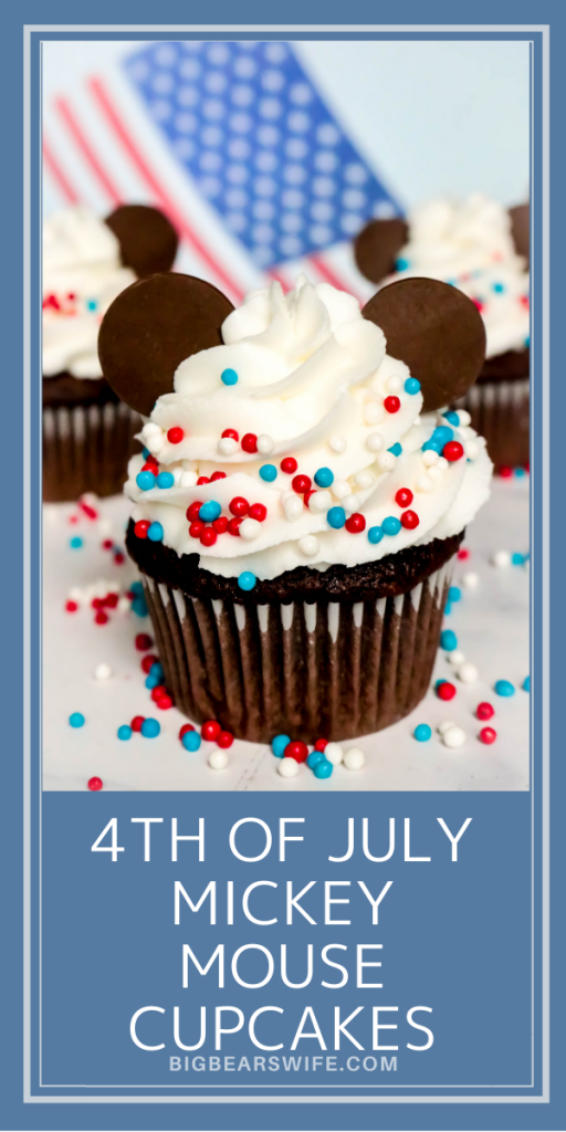 4th of July Mickey Mouse Cupcakes - We might not be celebrating the 4th of July at Disney World this year but we're bringing Disney Magic home with these fun and festive 4th of July Mickey Mouse Cupcakes!