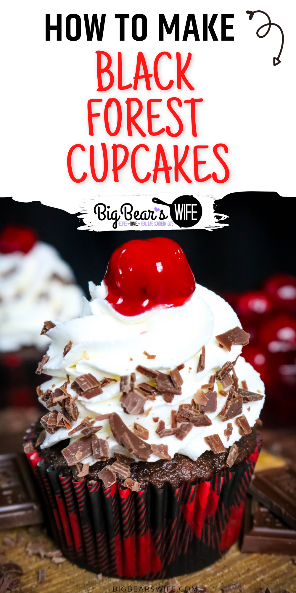 Chocolate and Cherry marry perfectly in these Black Forest Cupcakes! Chocolate cupcakes filled with cherry pie filling and topped with a homemade vanilla whipped cream frosting. via @bigbearswife