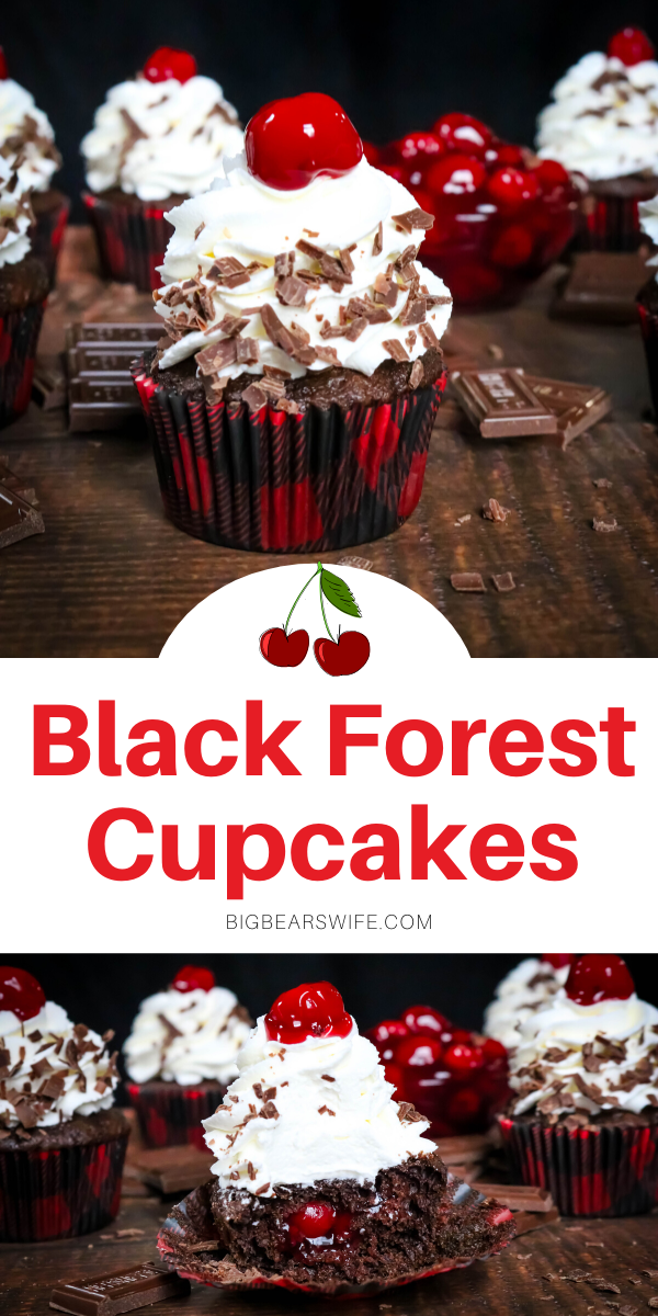 Black Forest Cupcakes - Chocolate and Cherry marry perfectly in these Black Forest Cupcakes! Chocolate cupcakes filled with cherry pie filling and topped with a homemade vanilla whipped cream frosting.  via @bigbearswife