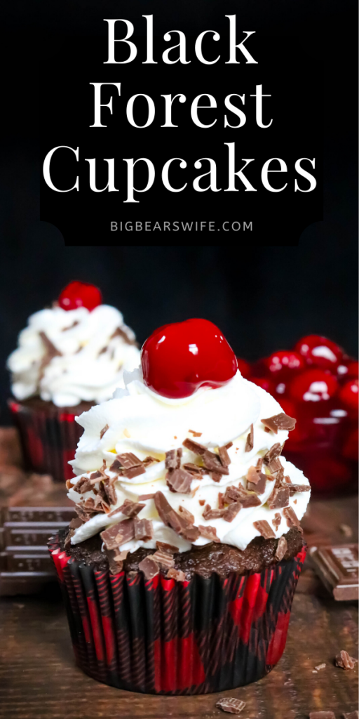 Black Forest Cupcakes - Chocolate and Cherry marry perfectly in these Black Forest Cupcakes! Chocolate cupcakes filled with cherry pie filling and topped with a homemade vanilla whipped cream frosting.