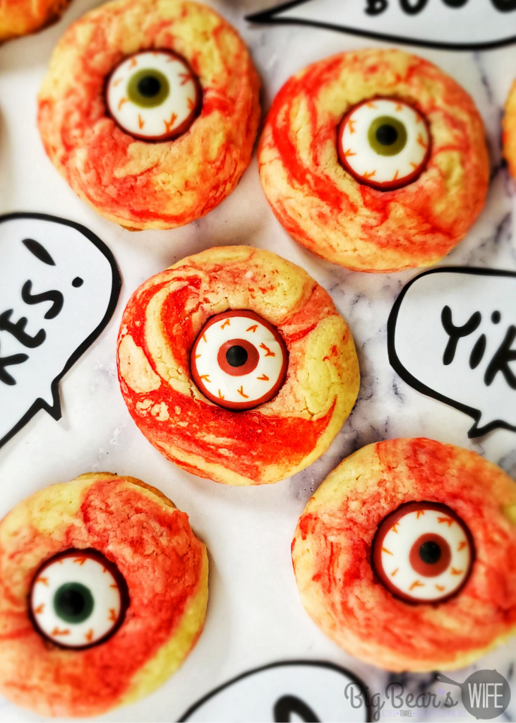 Cake Mix BloodShot Eyeball Cookies - Halloween is looking pretty spooky with these easy Cake Mix BloodShot Eyeball Cookies!
