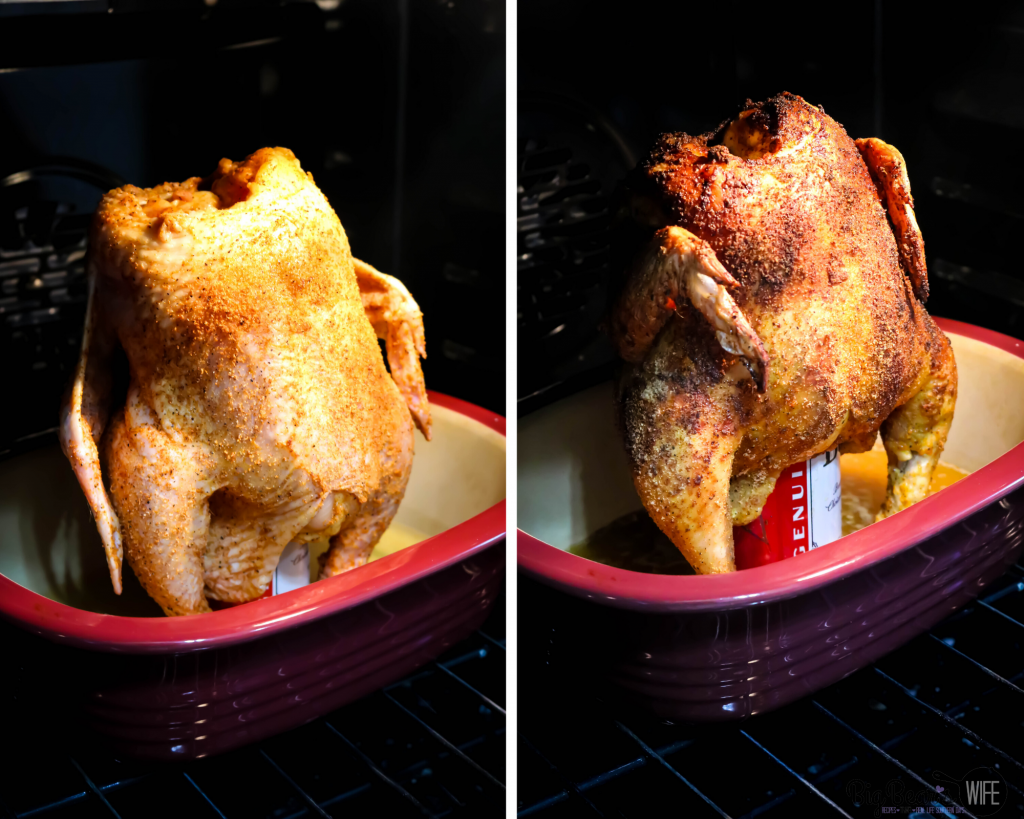 Beer Can chicken in oven before and after being cooked