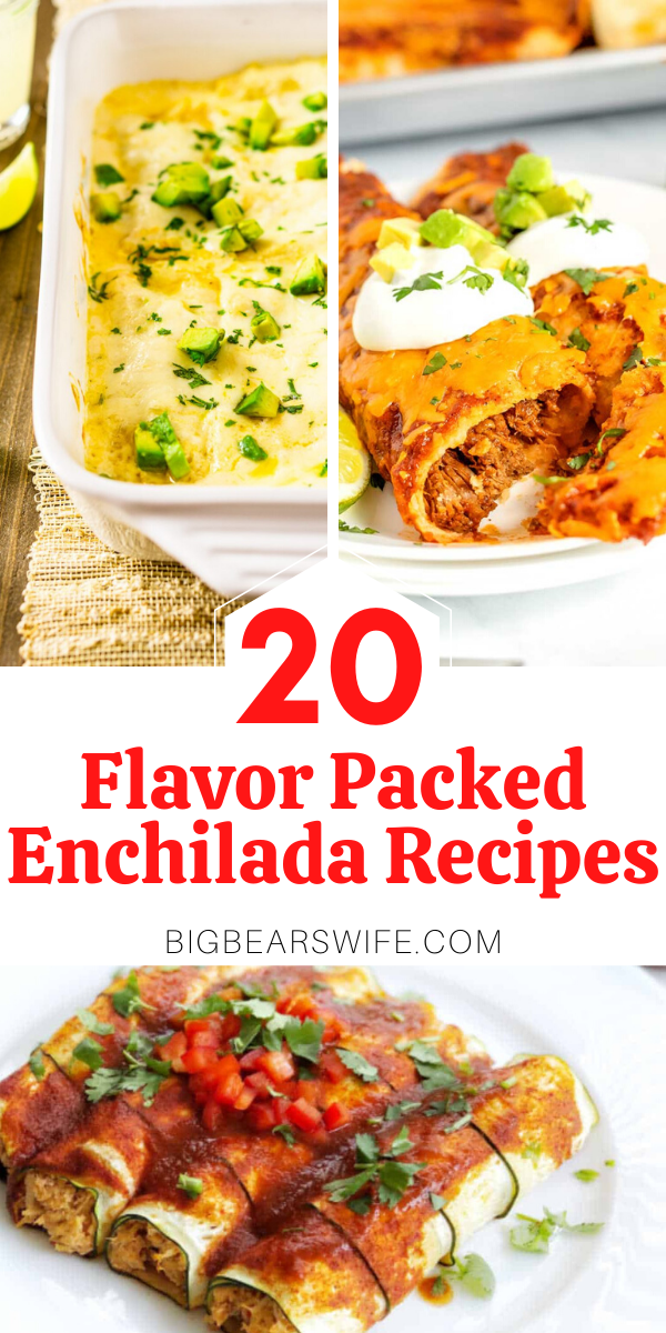 20 Flavor Packed Enchilada Recipes - Craving Enchiladas? Want to learn how to make them at home? Here 20 Flavor Packed Enchilada Recipes that you are going to fall in love with! Beef Enchiladas, Chicken Enchiladas, Vegan Enchiladas and even Breakfast Enchiladas are on this list!!