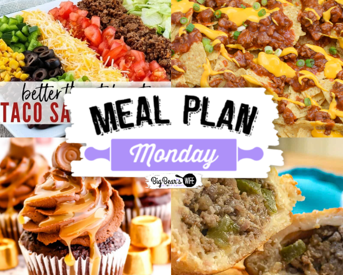 Welcome to Meal Plan Monday 215 where we're featuring recipes like, Homemade Taco Salad Recipe (Better Than Takeout), Sloppy Joe Nachos, Natchitoches Meat Pies and Chocolate Caramel Rolo Cupcakes! via @bigbearswife