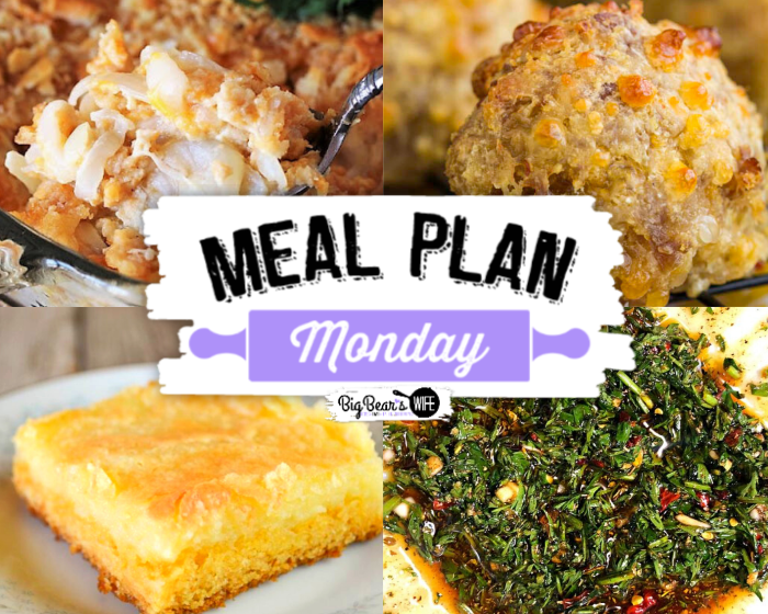 Welcome to this week's meal plan Monday! We're featuring Southern Vidalia Onion Casserole, Cornmeal Sausage Balls, Yellow Cake Mix Gooey Butter Bars and Chimichurri made from Carrot Greens.