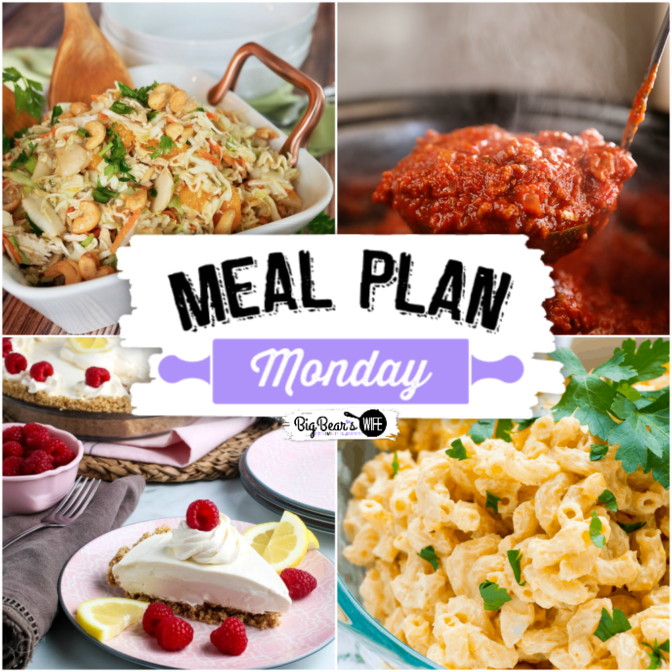 Meal Plan Monday 218! Sharing recipes for Asian Ramen Noodle Salad, Lemonade Pie, Deviled Egg Macaroni Salad, Slow Cooker Spaghetti Sauce and More!