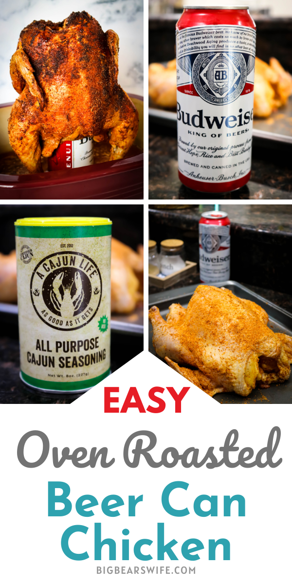 Oven Roasted Beer Can Chicken - Have you ever made Beer Can Chicken? I'm going to show you exactly how to make the most amazing Beer Can Chicken, in the oven, with only 3 ingredients!  via @bigbearswife