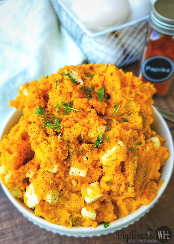 Paprika Deviled Egg Potato Salad in white bowl
