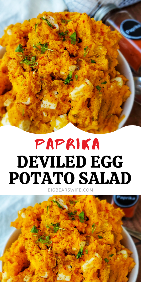 Paprika Deviled Egg Potato Salad - This southern Paprika Deviled Egg Potato Salad combined Paprika Deviled Eggs and Southern Potato salad into one amazing side dish!  via @bigbearswife